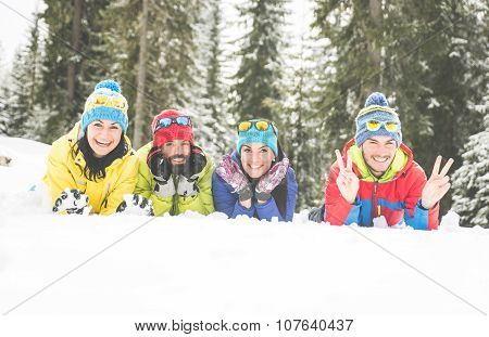 Friends Having Fun On The Snow