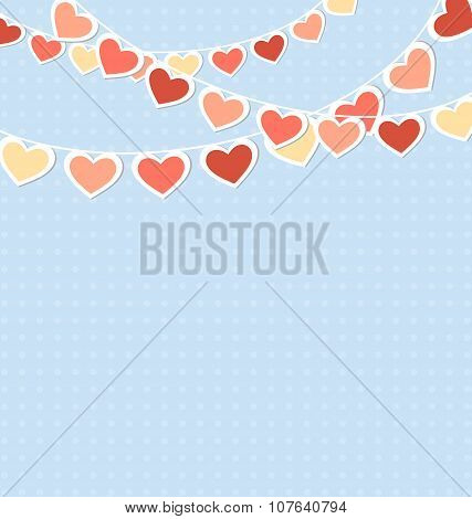 Hearts Buntings Garlands On Light Blue Background
