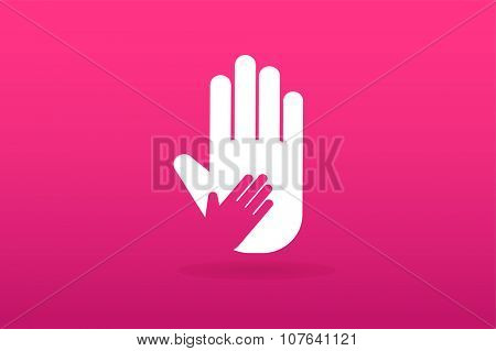 Hands care silhouette logo concept. Family mother and baby hands. Care logo, togetherness concept logo. Union abstract hands logo. Hands closeup vector. Abstract hands logo.Hands logo, care logo icon