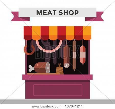 Meat shop stall with meats products. Meat pork, beef, steak, ham shop stall isolated. Food shop, sausage, butcher meat shop isolated. Meat store background. Meat products, meat shop, meat products
