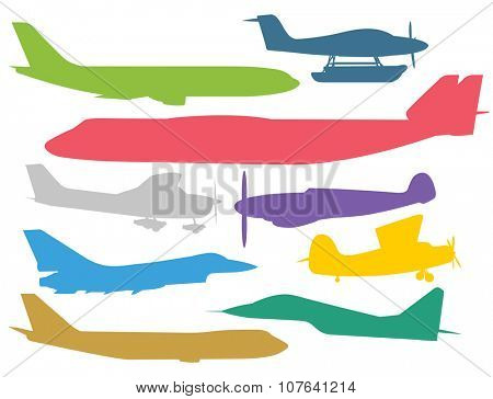 Civil aviation travel passanger air plane colorful vector silhouette. Civil commercial airplane flying vector illustration. Travel plane color icons isolated on white background. Cargo transportation