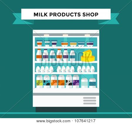 Milk products shop stall. Milk bottle, cheese, milk glasses, milk products shop stall isolated. Food shop, drinks, shelf milk store isolated. Milk store background. Milk products, milk shop, milk