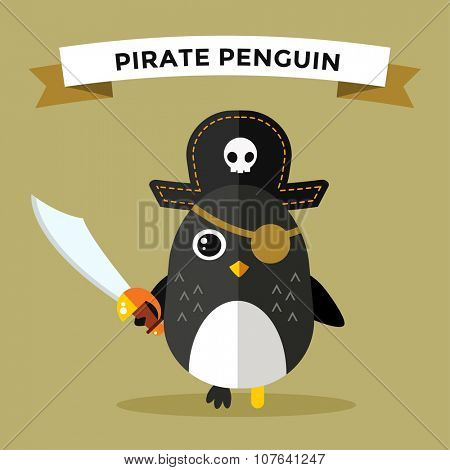 Cartoon penguin character vector illustration. Cartoon funny penguin captain or pirate. Penguin captain, sailor, pirate hat, pirate penguin. Cartoon penguin vector illustration. Penguin vector