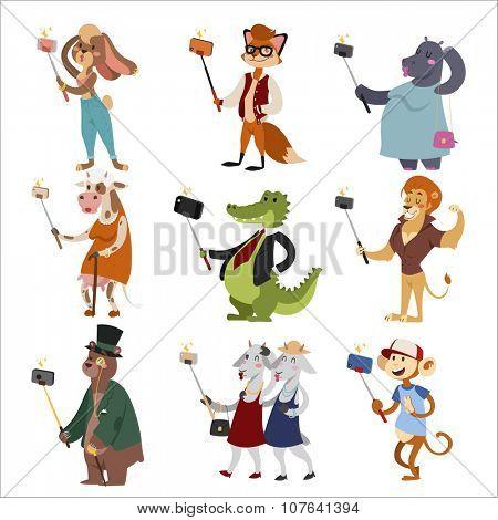 Selfie shots animals cartoon vector illustration. Vector selfie fox, monkey, crocodile, bear, cow, goats, rabbit, lion, hippo set. Selfie vector concept modern life with selfie animals. Selfie concept
