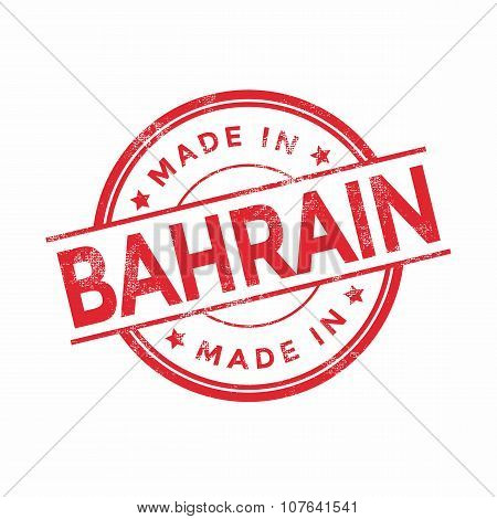 Made in Bahrain red vector graphic. Round rubber stamp isolated on white background.