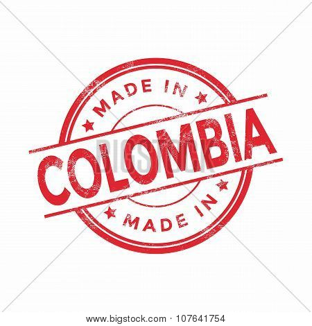 Made in Colombia red vector graphic. Round rubber stamp isolated on white background.