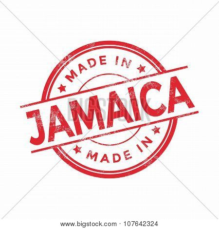 Made in Jamaica red vector graphic. Round rubber stamp isolated on white background.