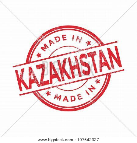 Made in Kazakhstan red vector graphic. Round rubber stamp isolated on white background.
