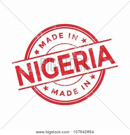 Made in Nigeria red vector graphic. Round rubber stamp isolated on white background.