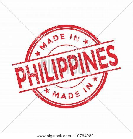 Made in Philippines red vector graphic. Round rubber stamp isolated on white background.