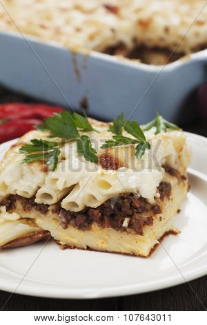 Pasticcio or pastitsio, baked pasta woth ground beef and bechamel sauce