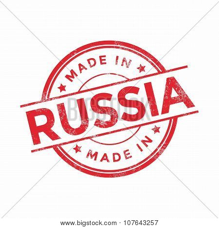 Made in Russia red vector graphic. Round rubber stamp isolated on white background.