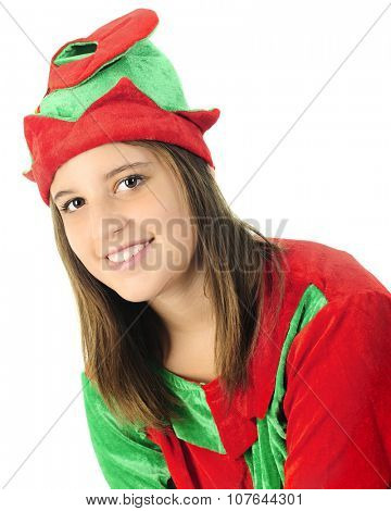 Head and shoulders image of an attractive teen elf.  On a white background.