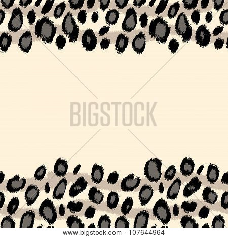 Black and white snow leopard skin animal print border seamless pattern, vector