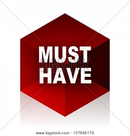 must have red cube 3d modern design icon on white background