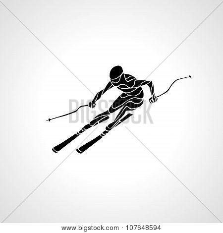 Giant Slalom Ski Racer Silhouette. Vector Illustration