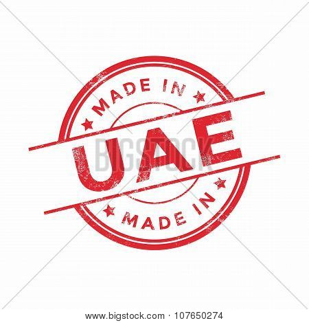 Made in UAE red vector graphic. Round rubber stamp isolated on white background.