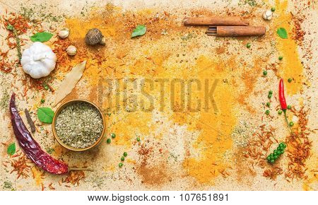 Spices For Herb And Cooking On Brown Background.