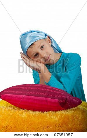 Cute Boy Near Pillow Isolated