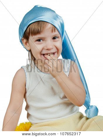Kid In Blue Sleeping Hat Isolated On White
