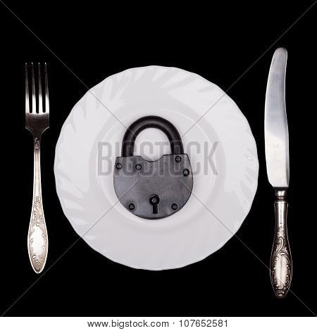 Plate, padlock, symbol of diet, still life, top view, isolated