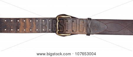 Old leather belt isolated on white