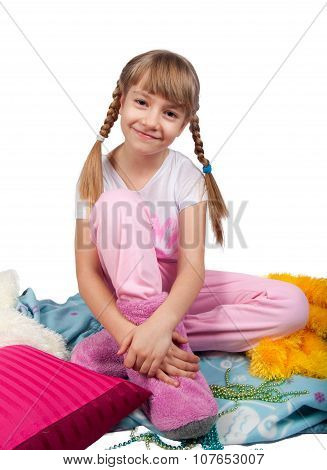 Cute Girl In Pajama Isolated On White