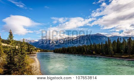 The Athabasca River seen from the Bridge of Maligne Lake Road