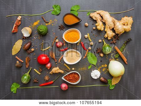 Spices For Herb And Cooking On Black Background.