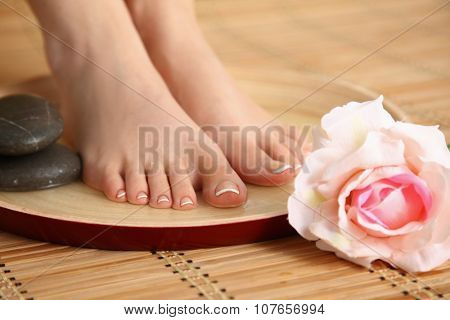 Care for beautiful woman legs with flower