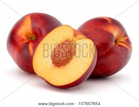 Nectarine fruit isolated on white background close up