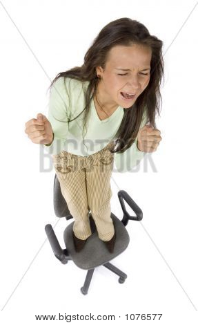 Screaming Woman Standing On The Office Chair