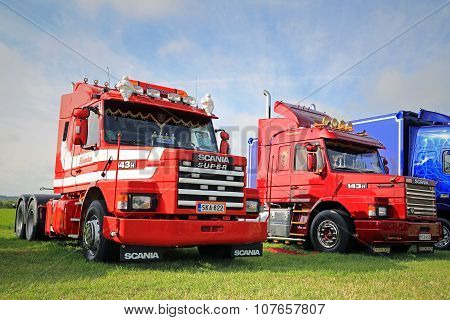 Two Scania 143H Conventional Trucks On The Show