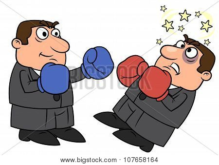Businessman is punching competitor