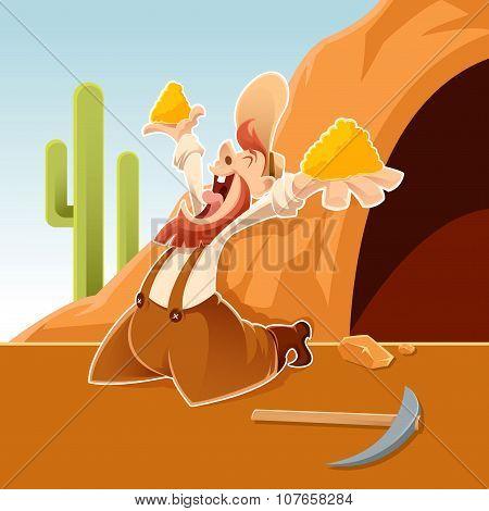 Happy Cartoon Prospector