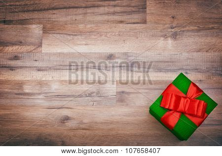 gift box on wooden table, christmas , birthday, mother's day or valentine background