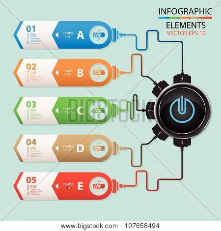 Vector Abstract Paper Info Graphics, Power Charger, Battery Charger, Web Design