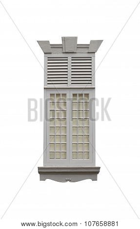 Window Of Old Buildings On White Isolate Background