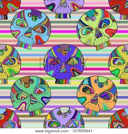 Dia De Los Muertos Calavera, Vector Mexican Day Of The Dead Skull Seamless Pattern