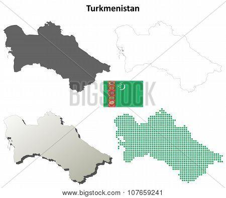 Turkmenistan blank detailed outline map set