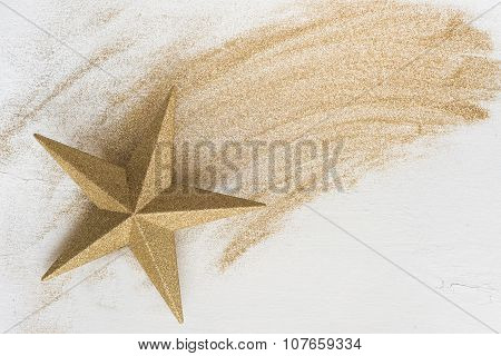 Christmas Gold Star With Glitter