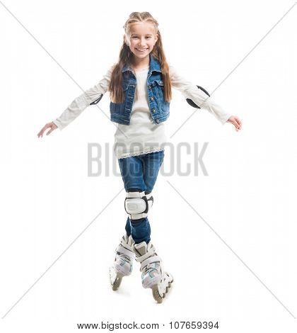 smiling teenager girl on rollerskates isolated on white background