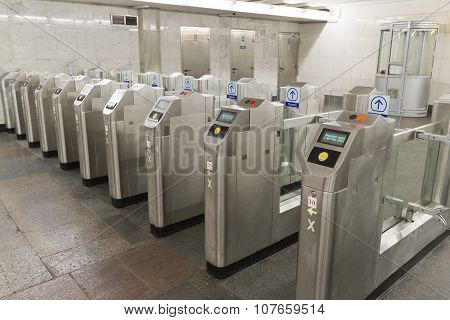 MOSCOW, RUSSIA -01.11.2015. Turnstiles at the Kurskaya metro station. Moscow Metro carries 7 million