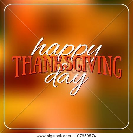 Happy Thanksgiving Day Logotype, Badge And Icon On Colorful Background. Thanksgiving Day Card Templa