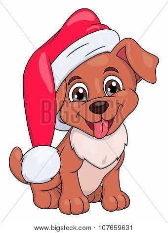 Little puppy with Santa hat 2