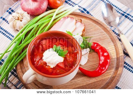 Red Tomato Soup With Beets And Sour Cream