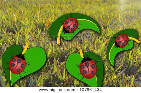 Ladybug on Leaf Abstract Illustration