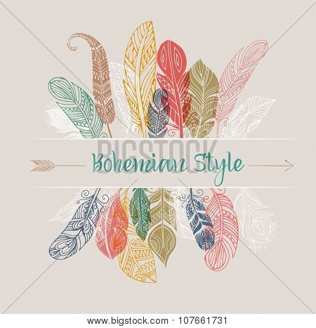 Bohemian style poster with gypsy colorful feathers