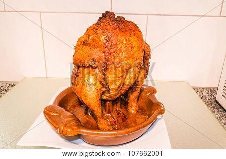 Grill Chicken In Barbecue Dish.