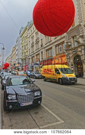 Rotenturmstrasse With Giant Red Balls As Christmas Decoration In Downtown Of Vienna In Austria